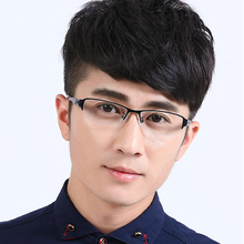 Spectacles for men, ultra light, semi frame glasses, finished products, discoloration, eye glasses, blue light, flat light, eye myopia.
