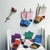 阿小轩 2018秋款新品棉袜男童女童弹力纯棉中筒袜5色拼接袜条纹袜