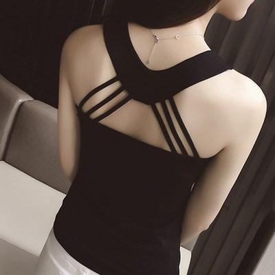 视觉大胸背心二道掉带背心女性感修身百搭打底韩版气质淑女夜店装