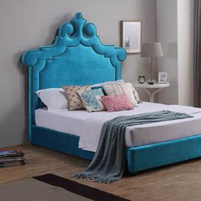 美式乡村公主布艺床孔雀软包储物床定制1.8米后现代风格