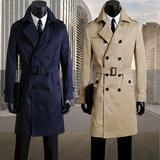春季新款韩版青年男装双排扣长款英伦风衣修身防水外套大衣有大码