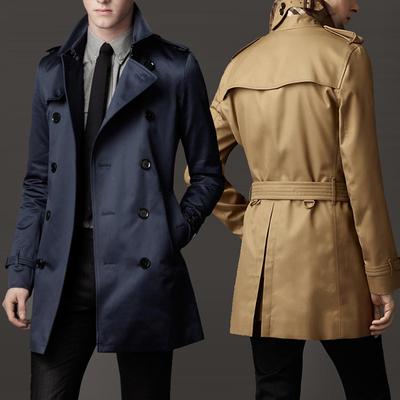 新款春秋青年男装翻领长款双排扣欧美英伦修身中长款风衣外套大衣