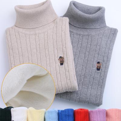 男童女童套头毛衣儿童高领纯棉线衣中大童打底针织衫加绒加厚白D4
