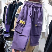 Korean Borabora Children's Clothes Autumn 2009 New Leisure Belt of Purple Medium-sized and Large Boys and Girls'Workwear Pants