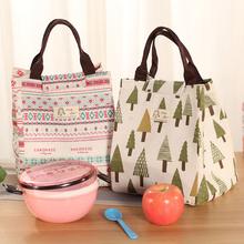 包邮 防水帆布手提保温包便当包饭盒袋 棉麻方形午餐包带饭袋大号