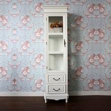 韩式田园白色雕花 展示柜储物柜三面玻璃 酒柜单门陈列柜高柜书柜