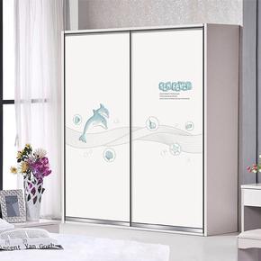 温州定做衣柜门儿童卡通衣柜推拉门定制 环保吸塑彩绘橱柜推拉门
