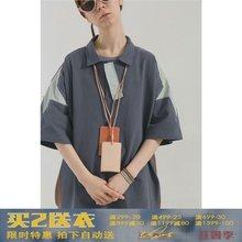 BLIND402 / NO PLAN19ss夏日复古拼接条纹polo衫男女情侣短袖T恤