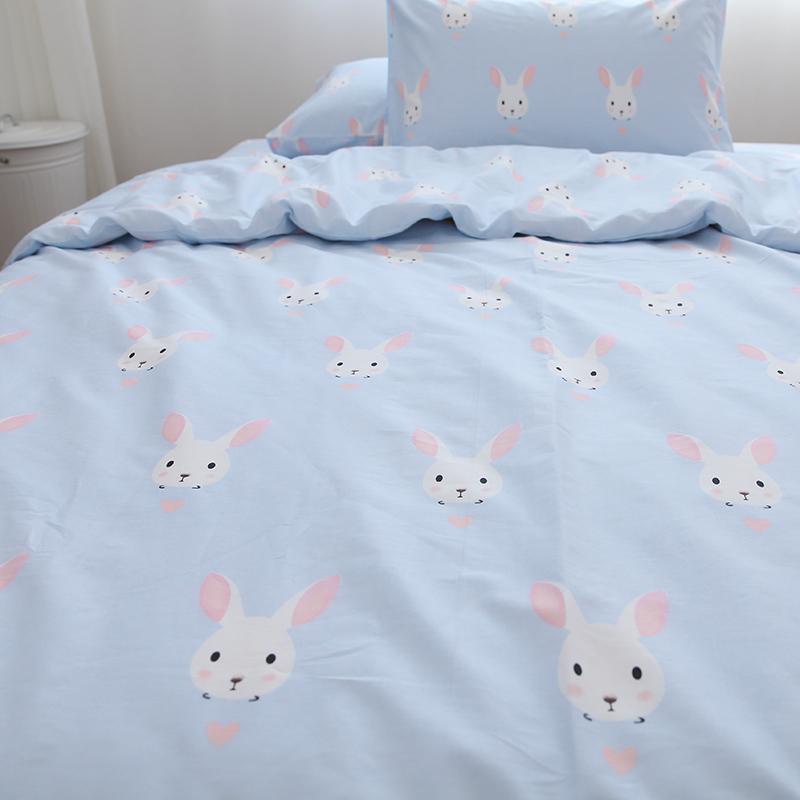 小白兔子可爱粉蓝色少女系卡通全棉斜纹床单被套宿舍单件纯棉床品