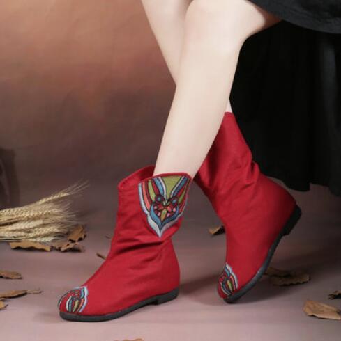 复古短靴民族风绣花靴子牛筋底老北京布靴内增高春秋女靴单靴棉靴