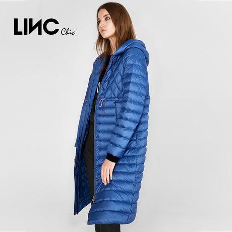LINC金羽杰2018秋新款鸭绒腰部抽绳直筒轻薄羽绒服女长款8323395商品大图