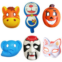Children's Day Kindergarten Hand-painted Pulp Peking Opera Mask Mask White Children's Painting Manual DIY Blank Horse Spoon