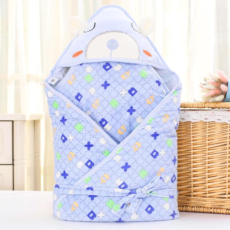 婴童乐春秋冬季加厚保暖新生儿卡通抱毯抱被宝宝冬季婴儿系带包被