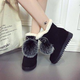 2017冬季韩版狐狸毛兔耳朵厚底保暖棉靴女加绒短筒套脚百搭雪地靴