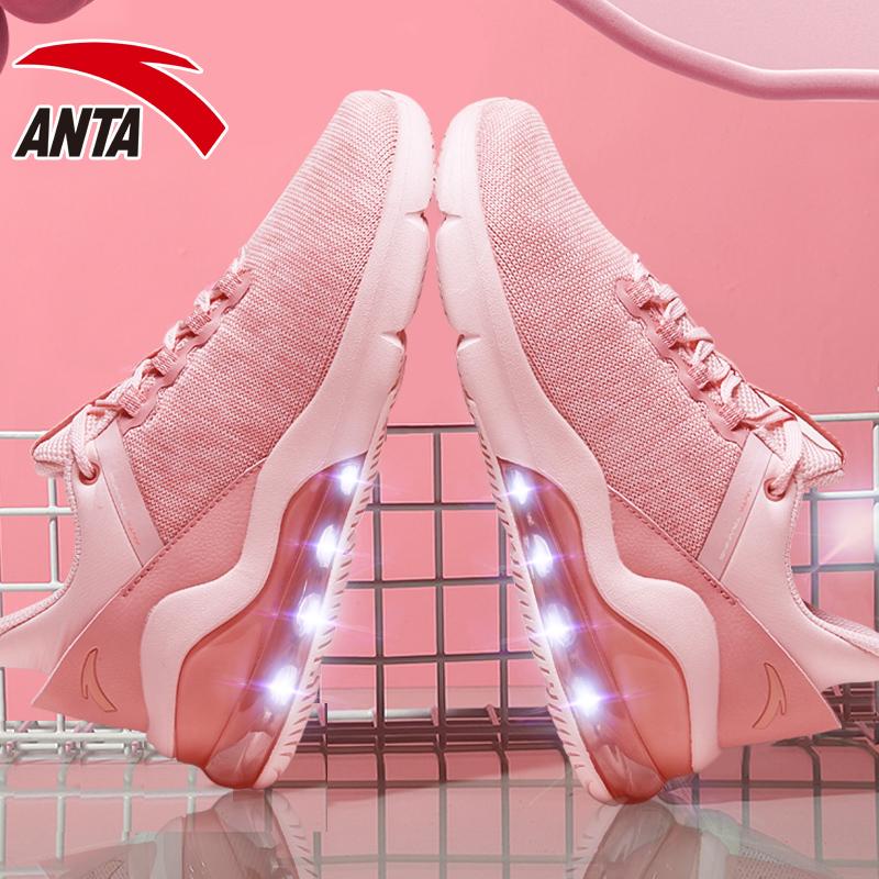 安踏女鞋运动鞋女2019秋季新款休闲鞋子织面跑步鞋正品粉色气垫鞋