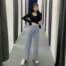 2019夏季女装新款韩版裤子复古百搭高腰牛仔裤宽松cec阔腿裤长裤