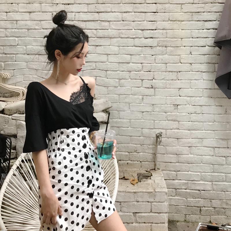 秋季韩版高腰短裙女装时尚复古百搭波点半身裙+蕾丝拼接T恤两件套