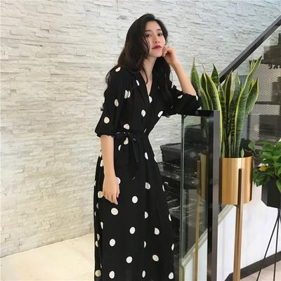 春季女装韩版时尚chic风波点V领系带中长裙休闲显瘦五分袖连衣裙