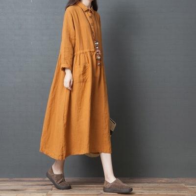 2019春秋新款韩版大码女装宽松亚麻洋气衬衫中长裙长袖棉麻连衣裙
