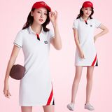2019 summer new lapel short-sleeved women's slim sports casual dress tennis badminton large size skirt