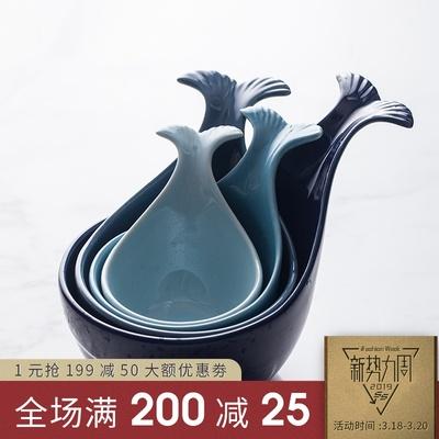 朵颐日式鲸鱼碗可爱烤碗家用陶瓷碗小碗饭碗创意手柄碗餐具瓷碗