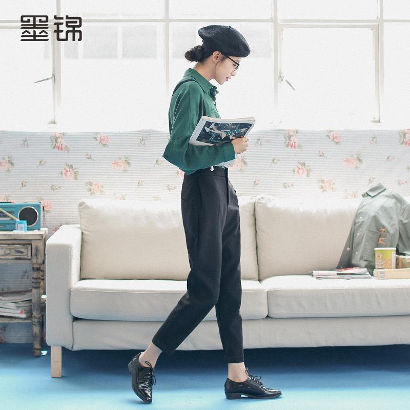 小脚黑色背带裤
