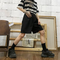 Summer Korean ins man hand suit pants black pants wild loose straight pants casual shorts men and women
