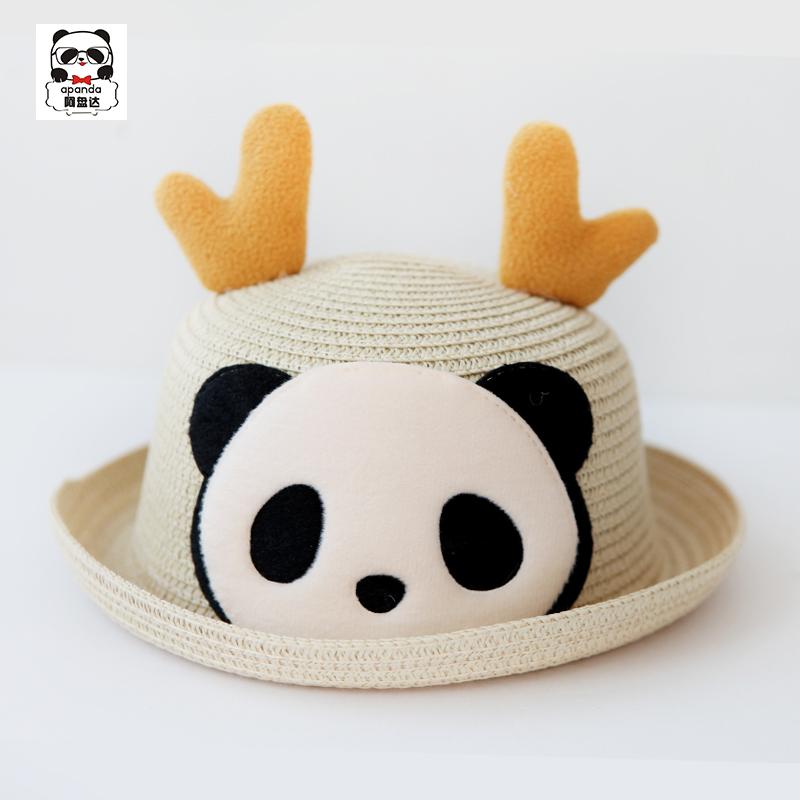 夏季成人儿童亲子熊猫脸鹿角草帽熊猫凉帽防晒草帽太阳帽沙滩帽