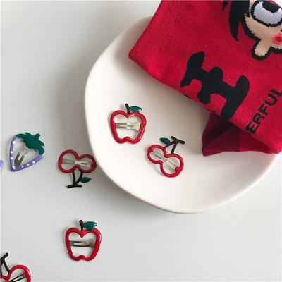 可爱水果发夹草莓苹果樱桃发卡韩国彩色镂空儿童成人刘海边夹BB夹