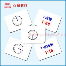 Duman early education flash card puzzle right brain potential development card encyclopedia clock point card clock card understanding time clock