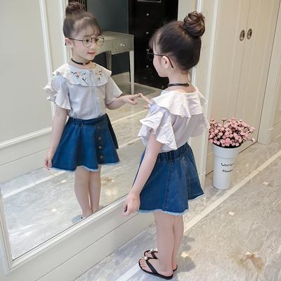 童装女童夏装棉麻衬衣2018新款韩版儿童短袖中大童洋气时髦上衣潮