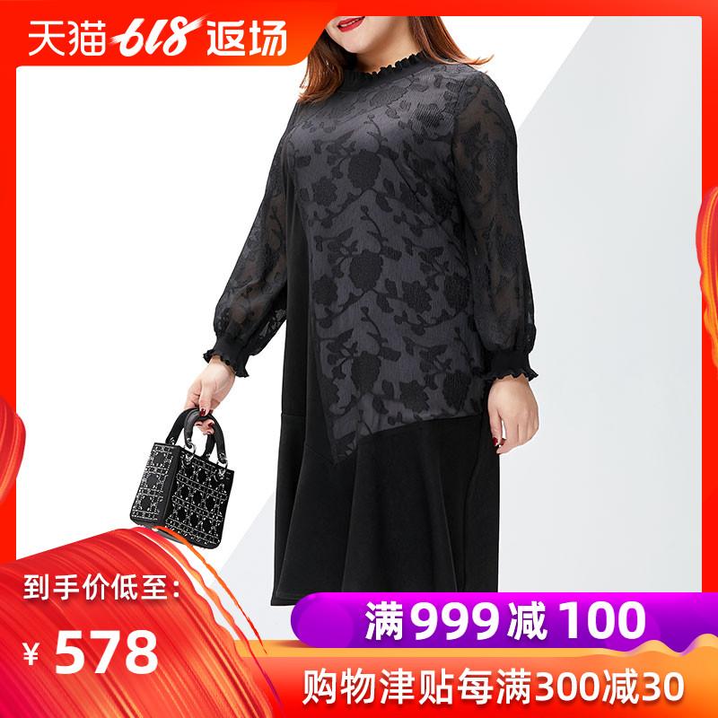 2019初春大码女装连衣裙新品胖mm妹妹减龄显瘦遮肚子荷叶边A字裙