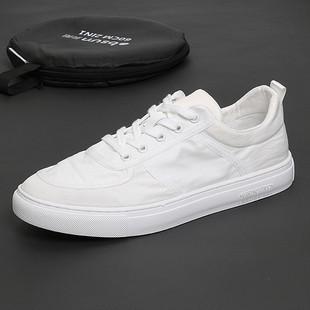 夏季新款 男厚底滑板鞋 潮流低帮北京布鞋 系带休闲白鞋 透气帆布鞋