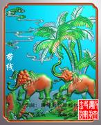 精雕雕刻精雕大象门板浮雕大象灰度图QS-024两只大象门板精雕带线