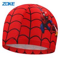 zoke儿童泳帽男童学游泳帽子可爱卡通蜘蛛侠护耳布质游泳帽男宝宝