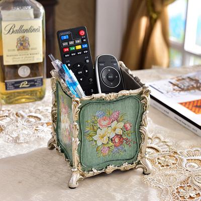 欧式树脂创意书房笔筒美式田园家居化妆刷筒时尚摆件遥控器收纳盒