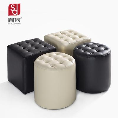 简域真皮换鞋凳欧式沙发凳小圆墩子床尾凳客厅圆凳脚凳穿鞋凳凳子在哪买