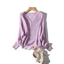 Exquisite white Makaron V-collar hollow-out pure-color sweater Pullover long sleeve loose knitted sweater woman 19 Chun
