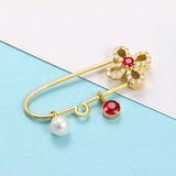 NOZBO 18k ruby ​​diamond brooch white round pearl pin