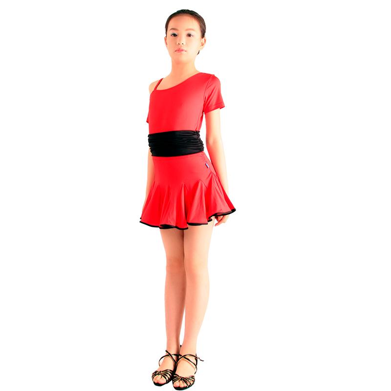 儿童拉丁舞服装 女童斜肩吊带连衣裙 少儿舞蹈练功服演出服拉丁裙