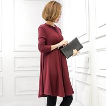 2018秋冬新款大码女装针织连衣裙胖mm显瘦气质打底裙子长袖胖女人