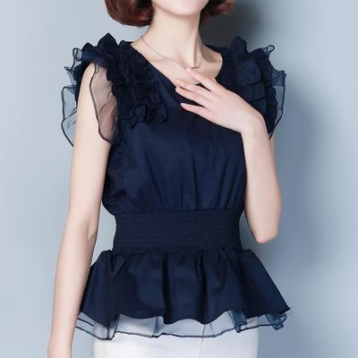 韩版大码雪纺衫蓬蓬短袖女夏荷叶收腰裙摆上衣遮肚子裙摆小衫洋气