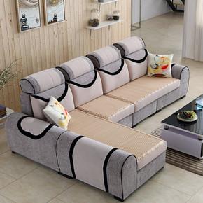 冬夏两用布艺沙发加凉席可拆洗简约现代大小户型客厅贵妃整装组合