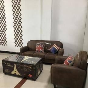 咖啡厅欧美复古皮小沙发酒吧休闲单人双人sofa创意卡座沙发布艺