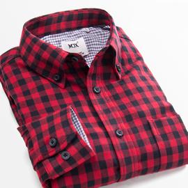 MJX春季磨毛男士格子加绒衬衫长袖韩版青少年休闲打底保暖衬衣