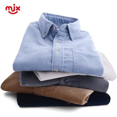 MJX2019春季男士灯芯绒衬衫长袖修身商务韩版打底纯棉纯色衬衣