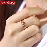 卡洛美饰品 十二星座戒指女 韩版时尚玫瑰金色开口食指指环尾戒