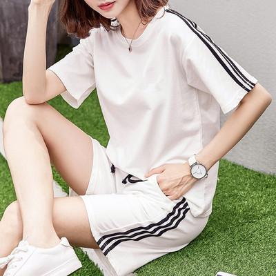 运动套装女夏2018新款时尚大码宽松短袖短裤跑步服纯棉休闲两件套