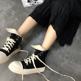 18夏ro19ss增高马丁靴高帮帆布鞋女厚底运动鞋嘻哈高邦老爹鞋子潮图片