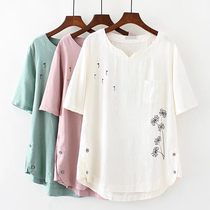 母亲节加肥加大码中老年夏装140/160/180斤妈妈奶奶棉麻T恤短袖衫